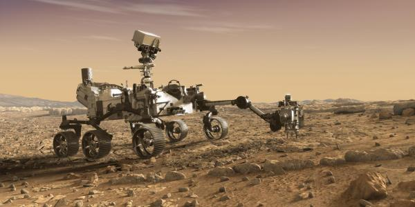 Artist illustration of NASA rover on Mars