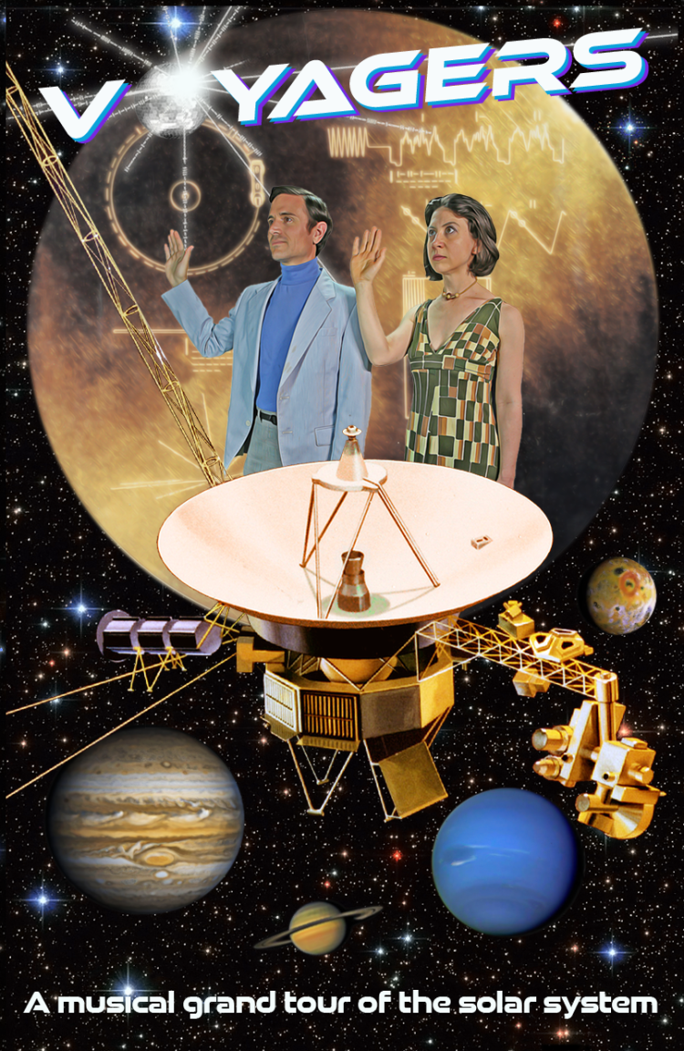 Poster for Voyagers theatrical play with planets, characters, golden record and spacecraft