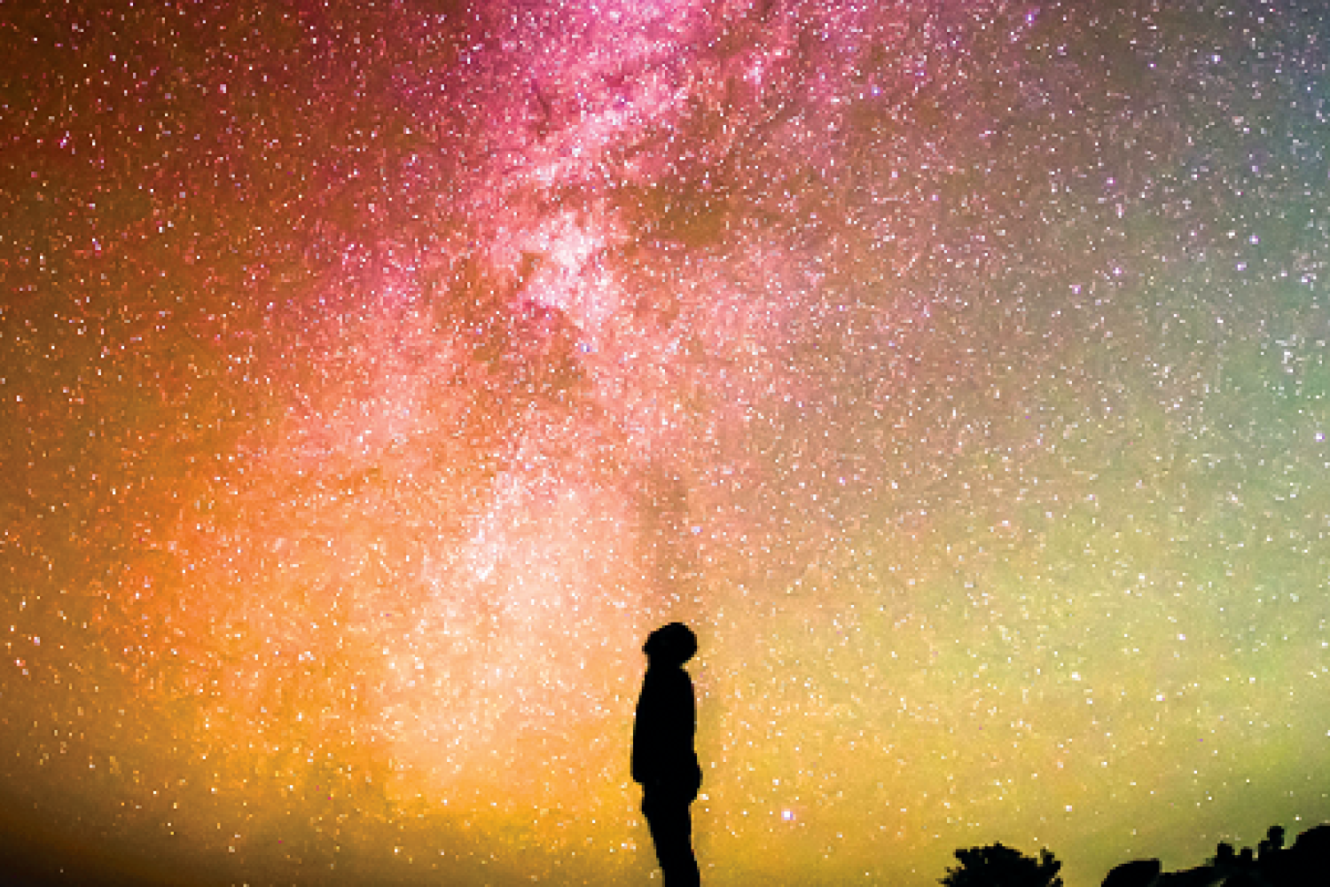 Alone So Far Image with person looking into the stars