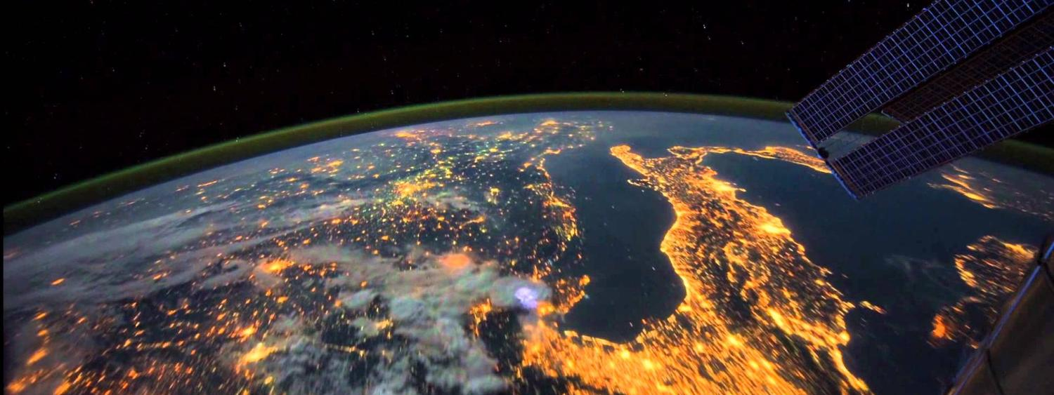 Photo taken from the ISS looking down on planet earth