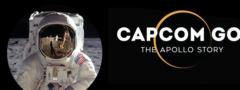 Capcom Go logo with photo of Buzz Aldrin on th eMoon