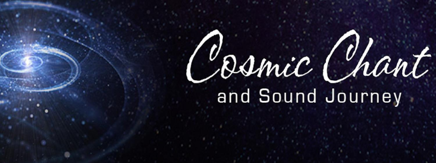 Cosmic Chant graphic with artist illustration of a galaxy against a blue sky