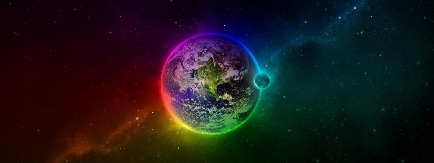 EDM graphic Earth and Moon in sky surrounded by a rainbow glow
