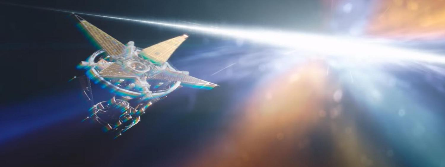 Artist illustration of a sci fi ship flying through space
