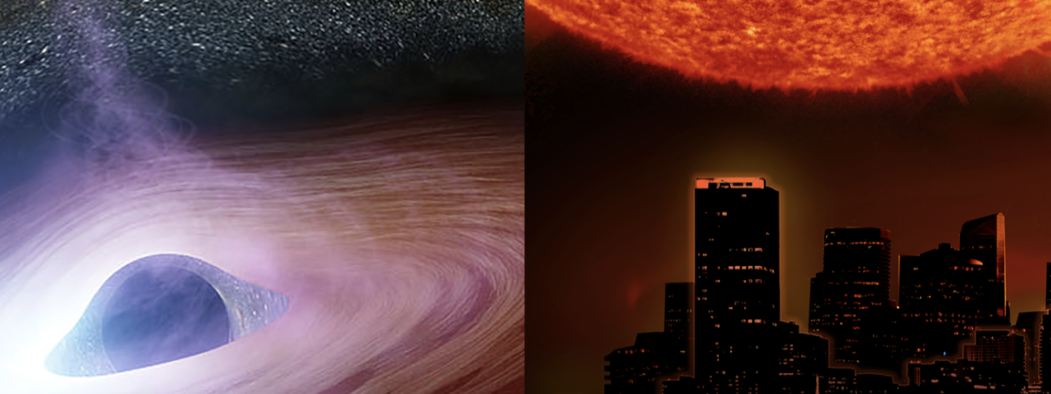 Still images and title credits of Black Holes and Solar Superstorms