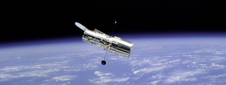 Hubble Space Telescope in orbit with Earth's limb