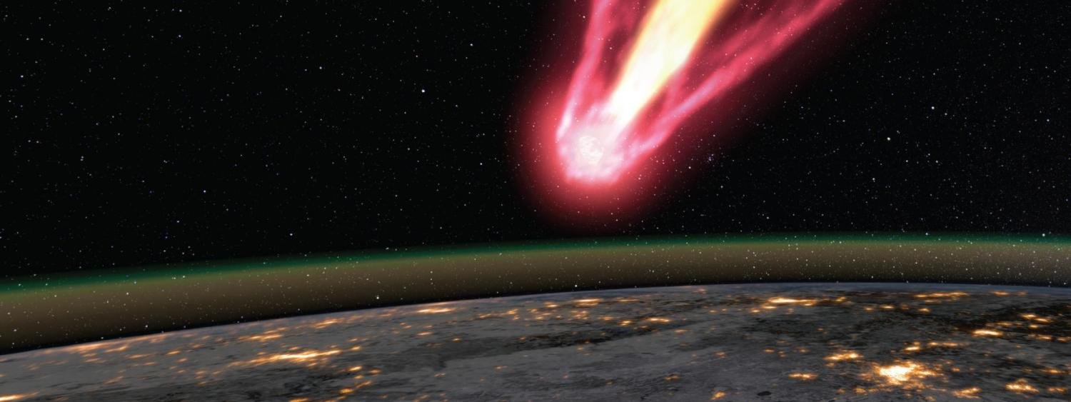 Artist illustration of a meteoroid over the earth