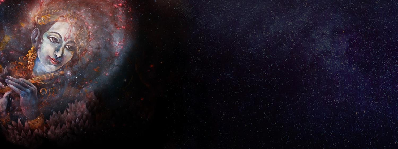 Cosmic Kirtan imagery with galaxy