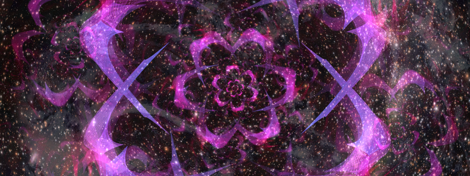 Liquid Sky with Pink Flowers and Stars