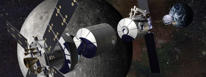 NASA Deep Space Getaway with Earth and Moon visible an artist illustration