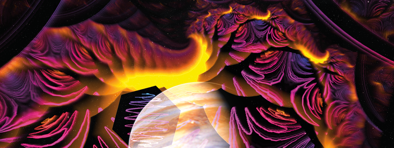 Fiske colorful image produced by our liquid sky system in pinks, purples, yellows and oranges with Jupiter