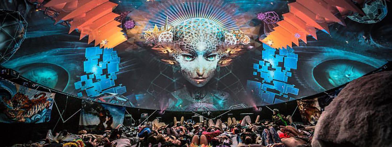 Photo of Samskara on the dome at Burning Man