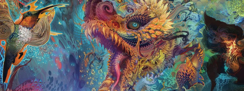 Samskara digital artwork with a dragon, hummingbird and flower