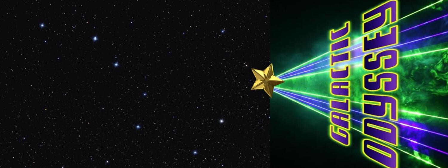 Star field with Laser Galactic Odyssey image in green and purple