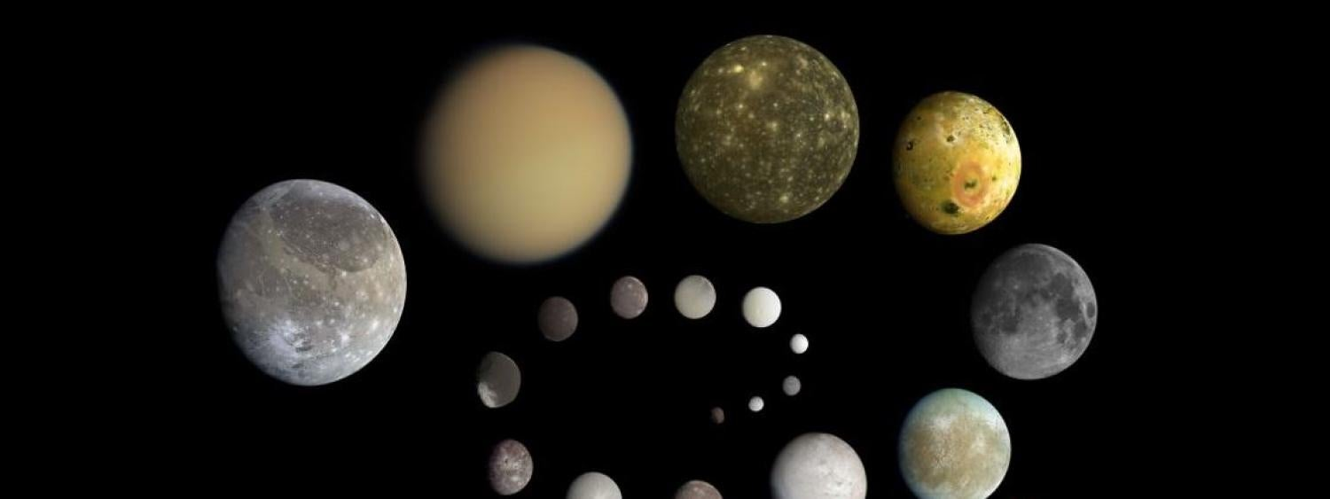 Photos of solar system moons in a spiral from the Planetary Society