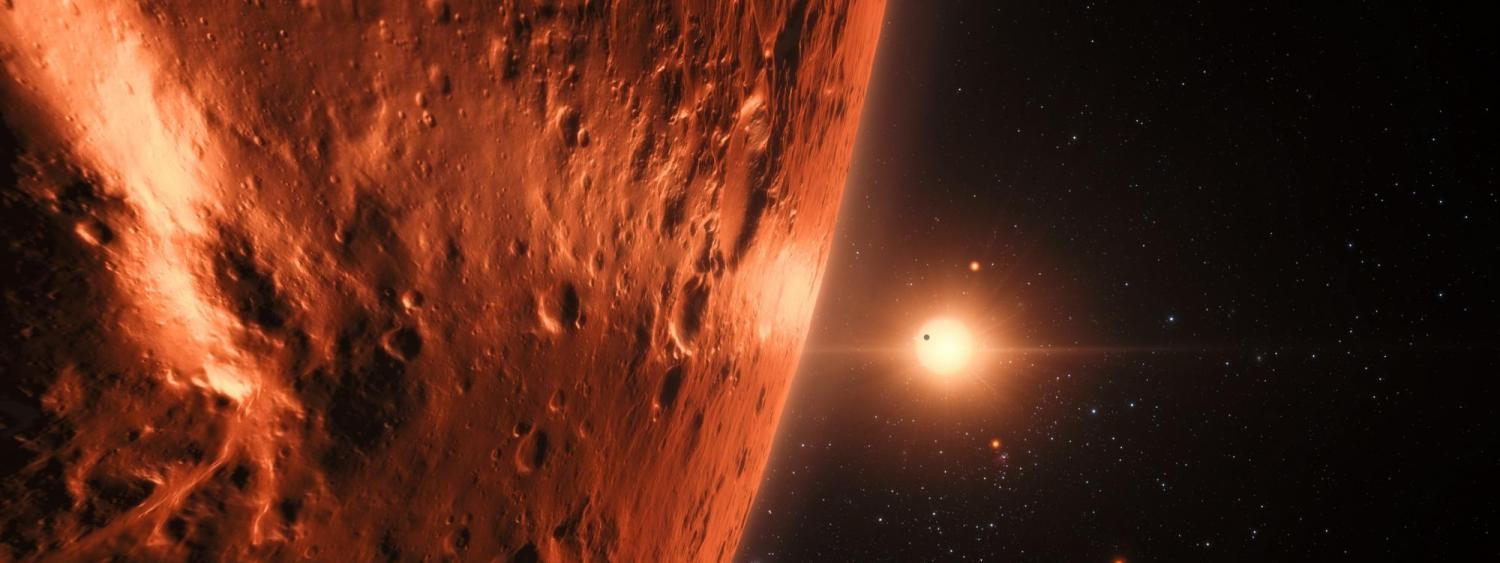 Illustration of Trappist exoplanet system