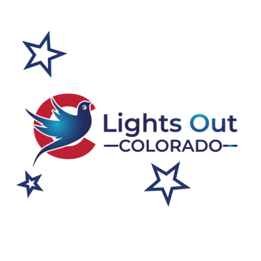 Lights out colorado logo with birds and stars