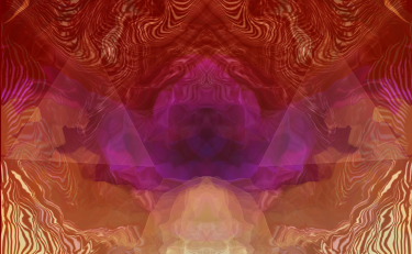 Liquid sky image with golds, oranges and magenta colors