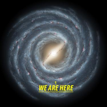 """Artist's conception of the Milky Way and the location of our solar system. Text reads, """"We are Here."""""""