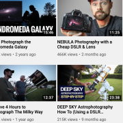 A Screen shot of available videos from AstroBackyard channel on YouTube