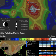 Screen captures of various astronomy forecasting tools including light pollution map, lunar phase, weather forecast and smoke map for the United States