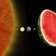 Graphic of fruit representing the inner planets of the solar system