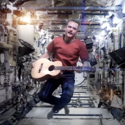 Chris Hatfield and his guitar aboard the ISS covering Space Oddity