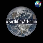 NASA Earth Day logo and hashtag with meatball over earth in background