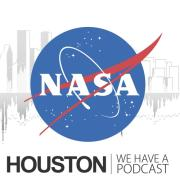Logo for Houston We Have a Podcast with NASA logo and background watermark