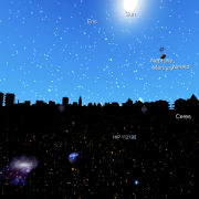 Screen grab from Night Sky app with city scape and celestial objects