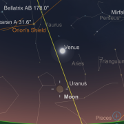 Screen capture from SkySafari of western sky for March 26, 2020