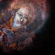 Kirtan graphic with night sky in background