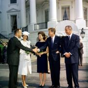 Photo of Shepard and his wife Louise meet First Lady Jacqueline Kennedy, President John F. Kennedy and Vice President Lyndon B. Johnson at the White House