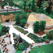 A photo of a LEGO Fiske from the CU Heritage Center's Hit the Bricks exhibit