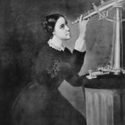 Black and white painting of Maria Mitchell