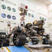 In a clean room at NASA's Jet Propulsion Laboratory in Southern California, engineers observed the first driving test for NASA's Mars 2020 rover on Dec. 17, 2019. Image Credit: NASA/JPL-Caltech