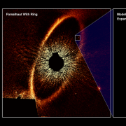 Photo of Fomalhaut b from Hubble Space Telescope two panels one with full star system and second with images through the years of exoplanet or debris