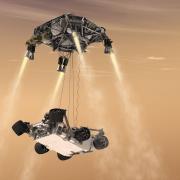 MSL artist illustration of rover descent and sky crane