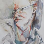 Watercolor of Professor Hawking was completed in 2010 by Wildrose Hamilton