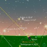 Graphic from SkySafari app of the western sky from Boulder and the sun setting on the solstice