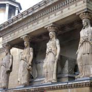 St. Pancras New Church, south elevation of female Greek column statues