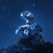 Still image from film WALL-E looking up at the universe.