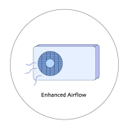 Graphic of a fan with Enhanced airflow in text.