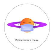 Friendly face of Saturn wearing a mask graphic with please wear a mask text.