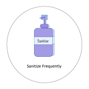 Graphic of a hand sanitizer bottle with text sanitize frequently.