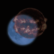 Two images of the full moon with a blue filter overlay and the jack-o-lantern image is a photo of the Sun taken by NASA's Solar Dynamics Observatory in 2014.