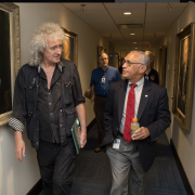 NASA Administrator Charles Bolden meets with Brian May, lead guitarist of the rock band Queen and astrophysicist, Friday, July 17, 2015 at NASA Headquarters in Washington