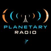 Planetary Radio logo with planets coming out of an broadcast antenna like sound waves