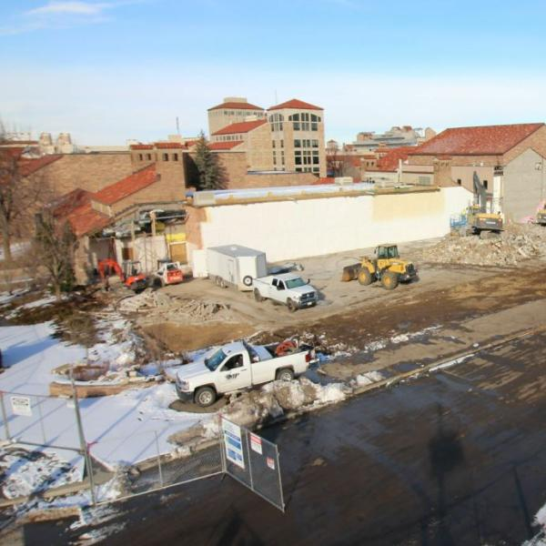 Demolition is underway at the IMIG Music building