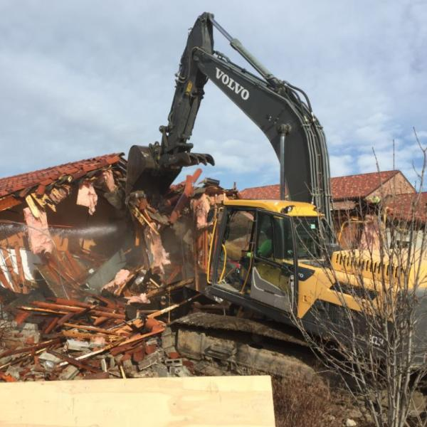 Demolition of west portion of building near admin suite